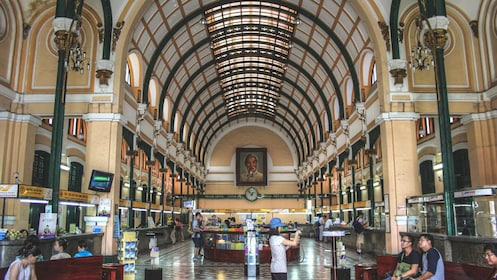 Interior view of arches in post office in Ho Chi Minh.
