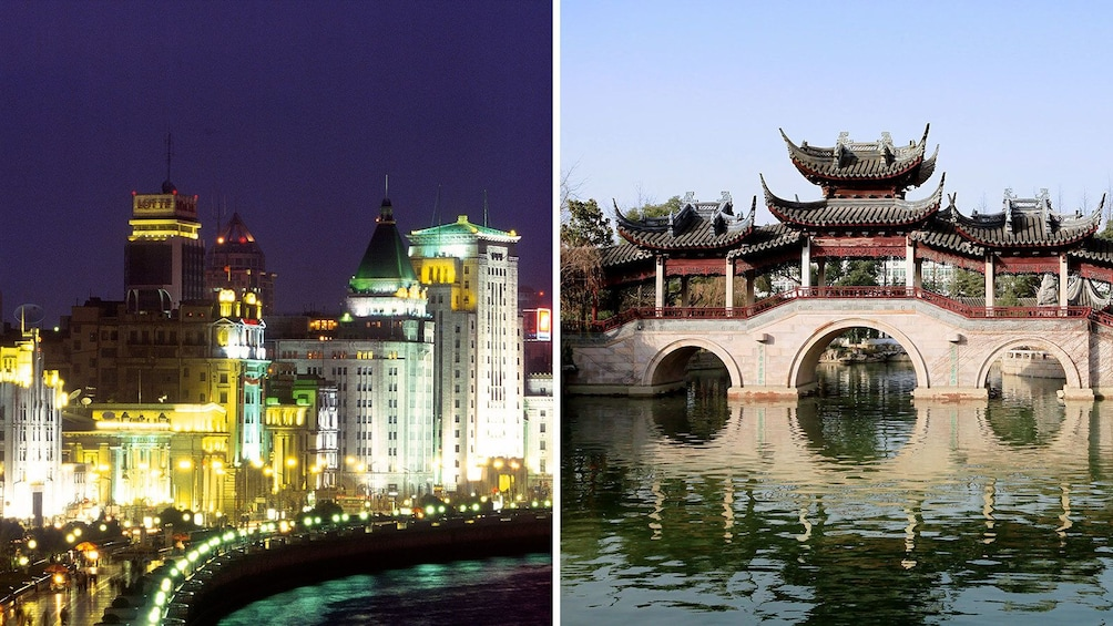 Split image of an ornate bridge and The Bund at night in Shanghai