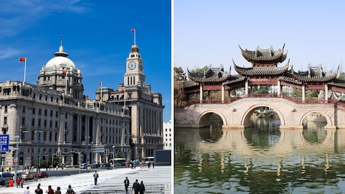Split image of a bridge on West Lake and The Bund in Shanghai
