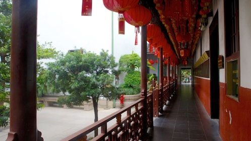 Hanging lanterns over a walkway at the Jade Buddha Temple in Shanghai