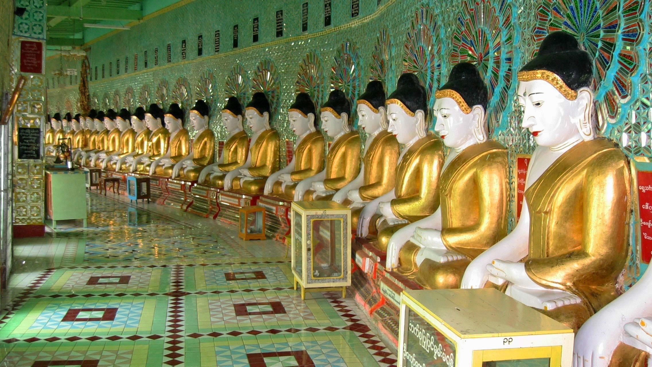 Statues inside a temple in Myanmar