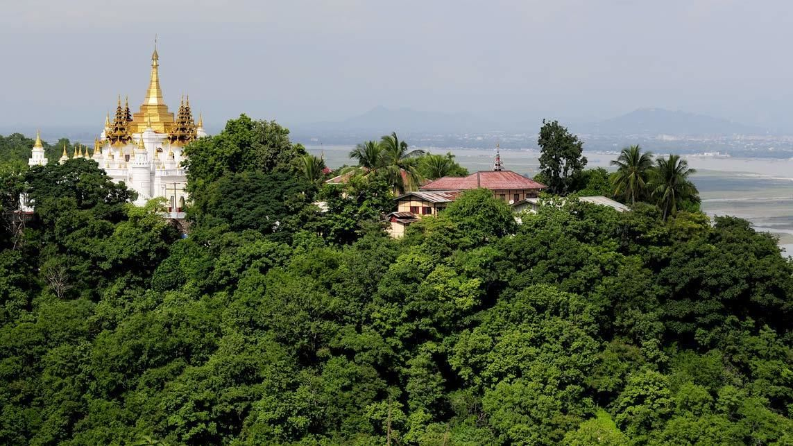 Aerial view of Sagaing Hill in Myanmar