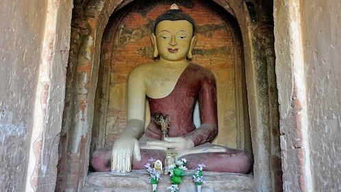 statue in temple in bagan