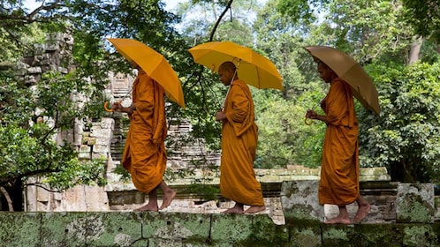 Three robed monks walking across temple with umbrellas.
