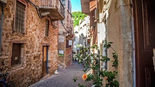 a narrow street path in Greece