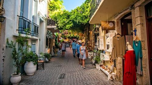walking through the street retail in Greece