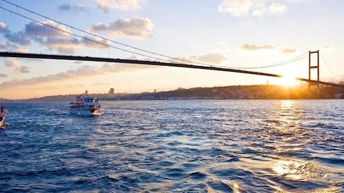 View of a yacht and The Istanbul Marathon, intercontinental bridge