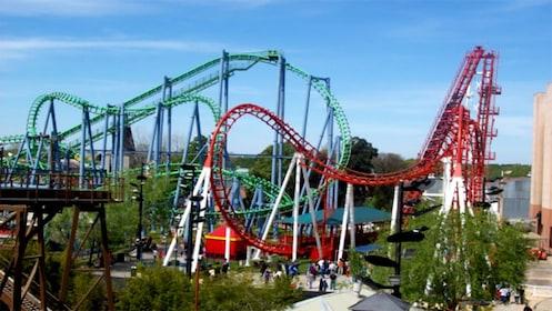 Twisted Roller Coaster tracks in Parque de la Costa