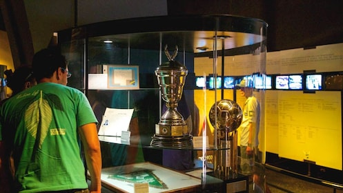 Enclosed trophy in museum.