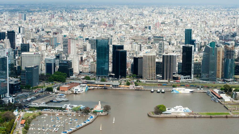 Aerial view of Buenos Aires from helicopter.