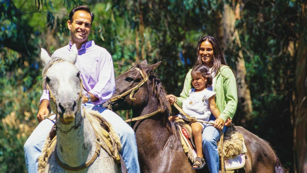 Family riding horses together.