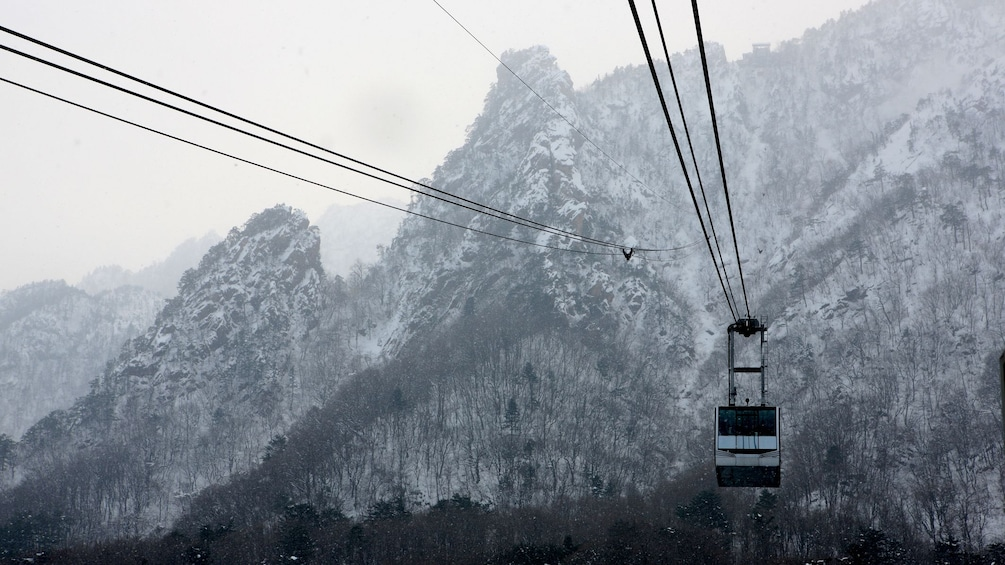 A Gondola lift on a Snow covered Mt Sorak