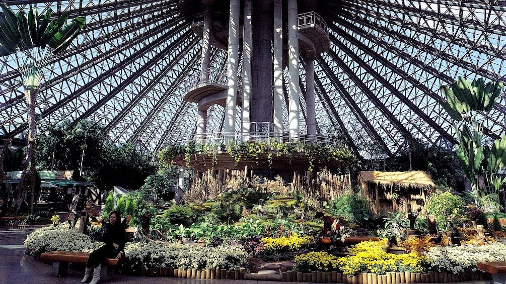 正在顯示第 3 張相片,共 5 張。 Woman sits on a Bench in large geodesic dome greenhouse