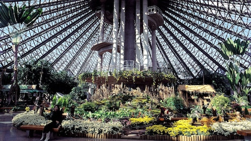 Woman sits on a Bench in large geodesic dome greenhouse