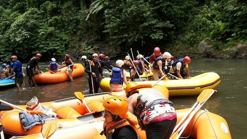 Several groups paddling in water rafts in river.