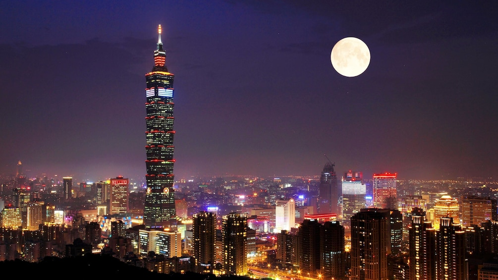 Show item 1 of 6. Gorgeous view of a full moon at night overlooking the city of Taipei