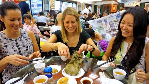 group enjoying lunch in Hong Kong
