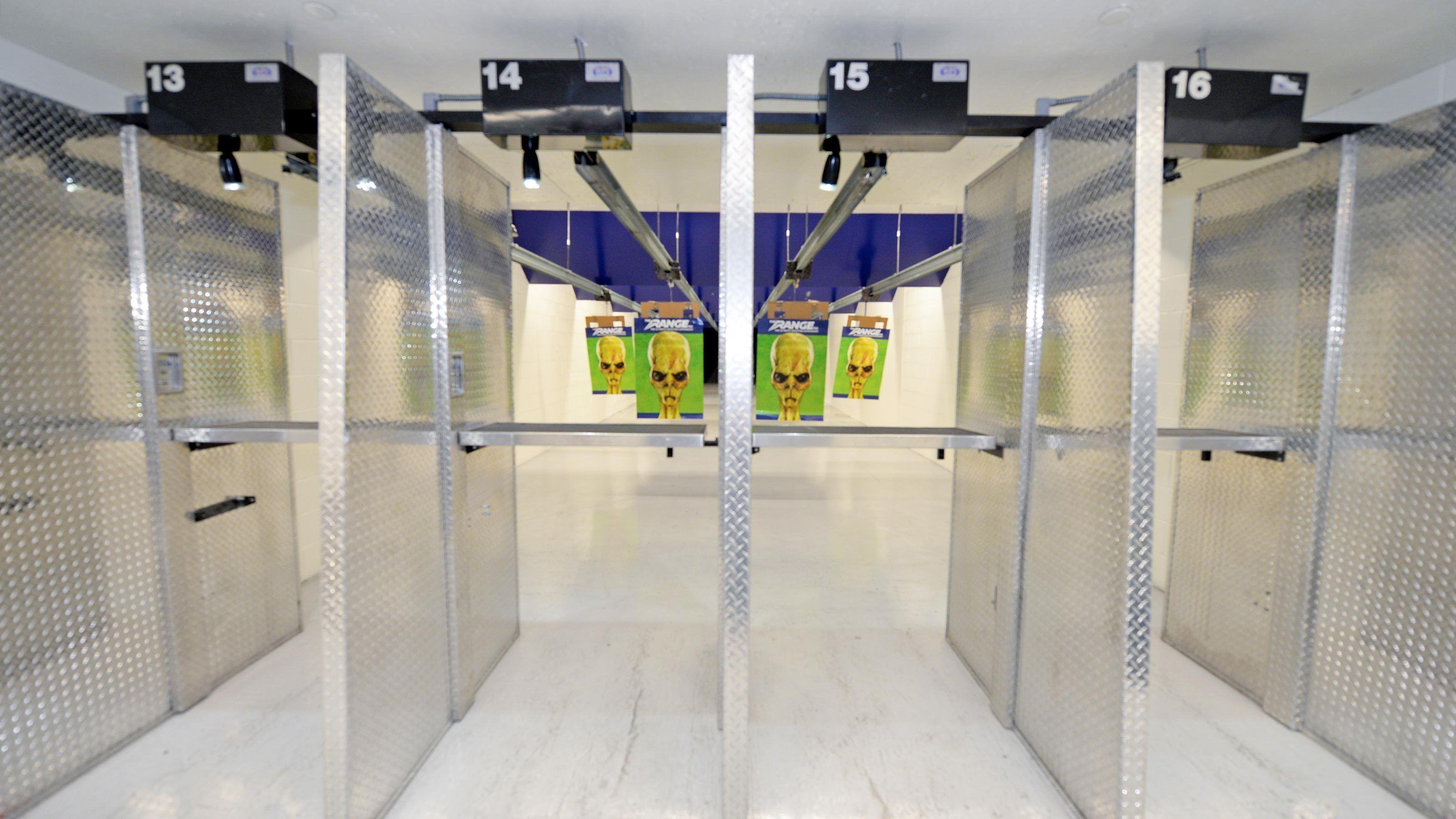 Indoor gun shooting range.