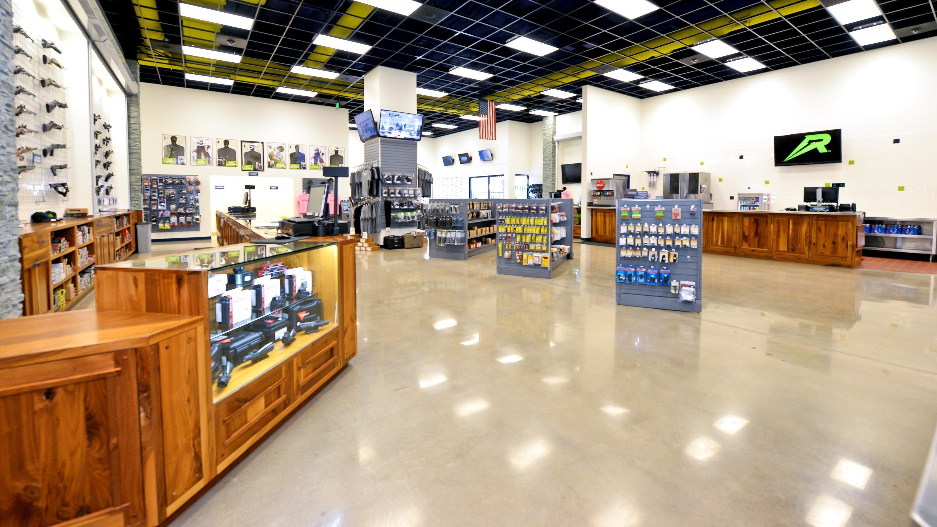 Interior view of brightly lit gun shop.