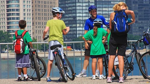 family on bikes in Chicago