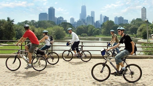 group biking over a bridge in Chicago