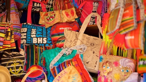 Close up of artsy handbags.