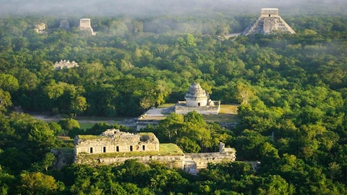 Aerial view of Chichen Itza.