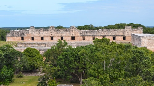 Aerial view of Uxmal structure.
