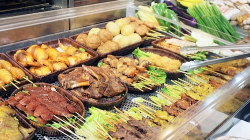 Variety of meats at the buffet in Tokyo