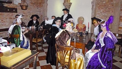 Group enjoying the Carnival Pub Crawl in Venice