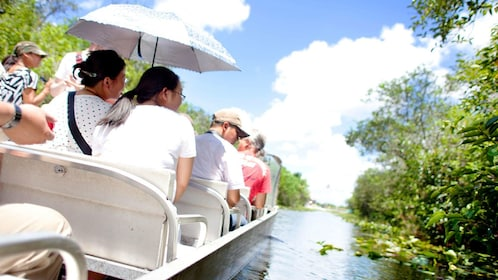 Passengers on an airboat in the everglades in Florida