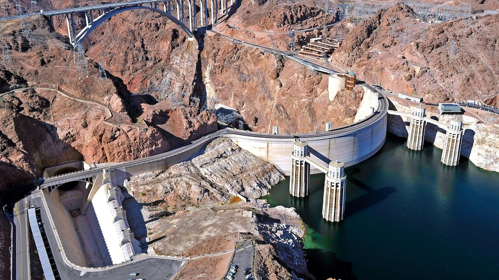 Show item 5 of 5. Aerial view of Hoover Dam structures.