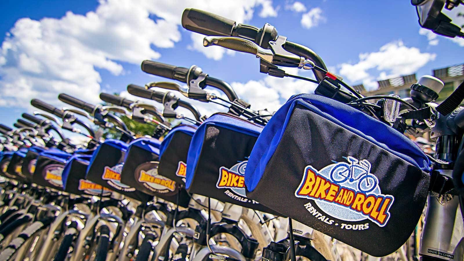 rows of rental bikes with storage pouches in Chicago