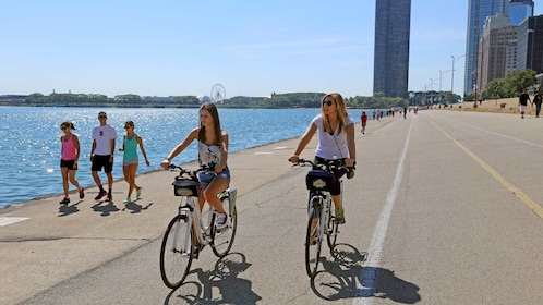 biking along the waters on a sunny day in Chicago