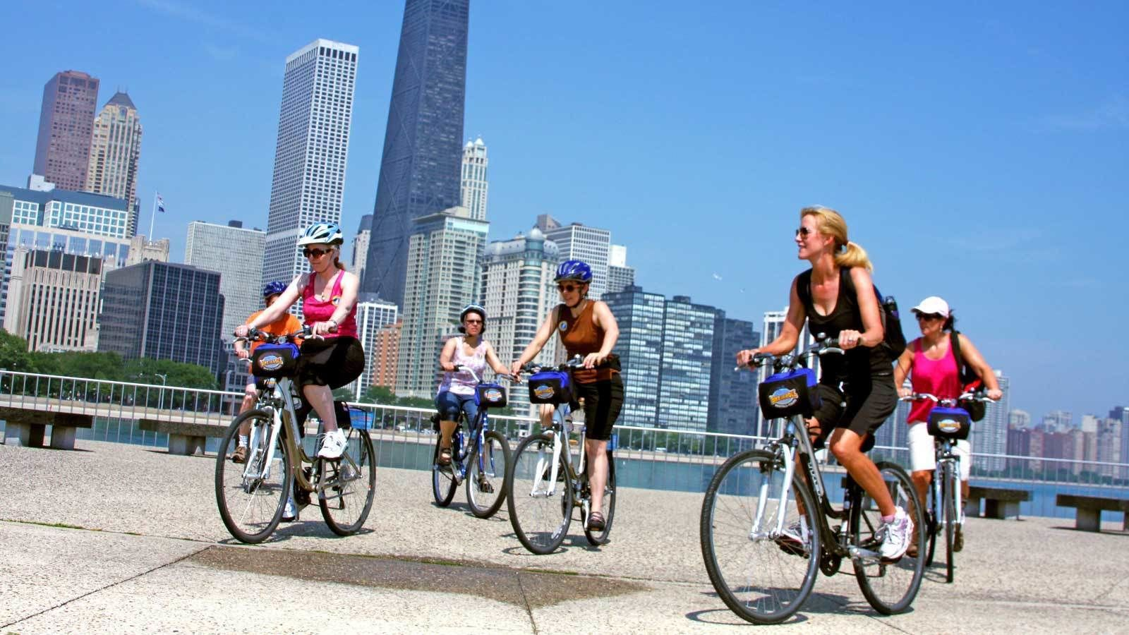 biking along the water in Chicago