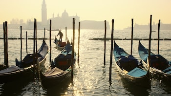 Show item 2 of 5. Gondolas are anchored in the waters of Venice