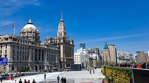 Buildings and pedestrians in the Bund district in Shanghai