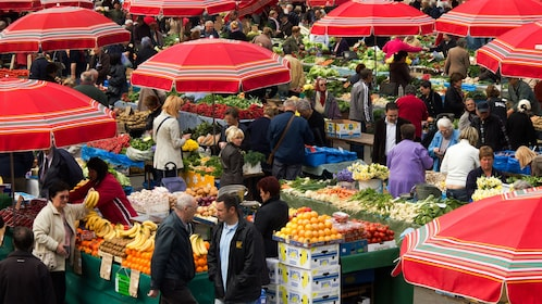 A large open air farmers market in Zagreb