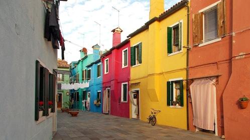 Multi-colored buildings in Venice Italy