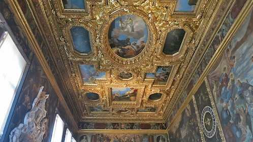 interior of golden painted ceiling in venice