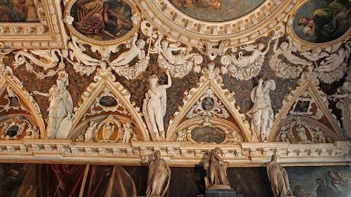 ornate ceiling decorations in venice