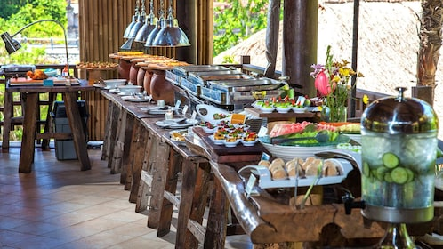 Interior view of buffet with food ready for eating.