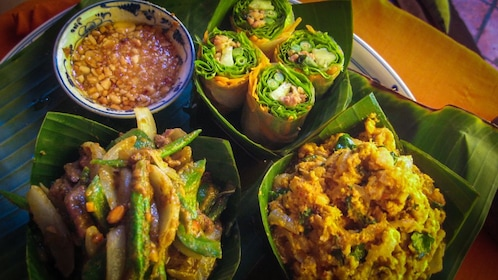 Close up of cooked traditional Angkor dishes.