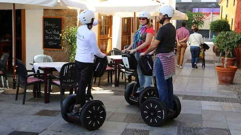 Segway riding group near a cafe in Tenerife