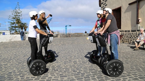 Segway riding group on cobblestone in Tenerife