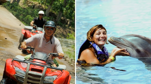 Combo image of ATV riders and woman swimming with a dolphin in Puerto Vallarta