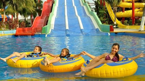 Inner tubing group at a waterpark in Puerto Vallarta
