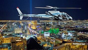 Uitgebreide avondvlucht over de Las Vegas Strip in een helikopter