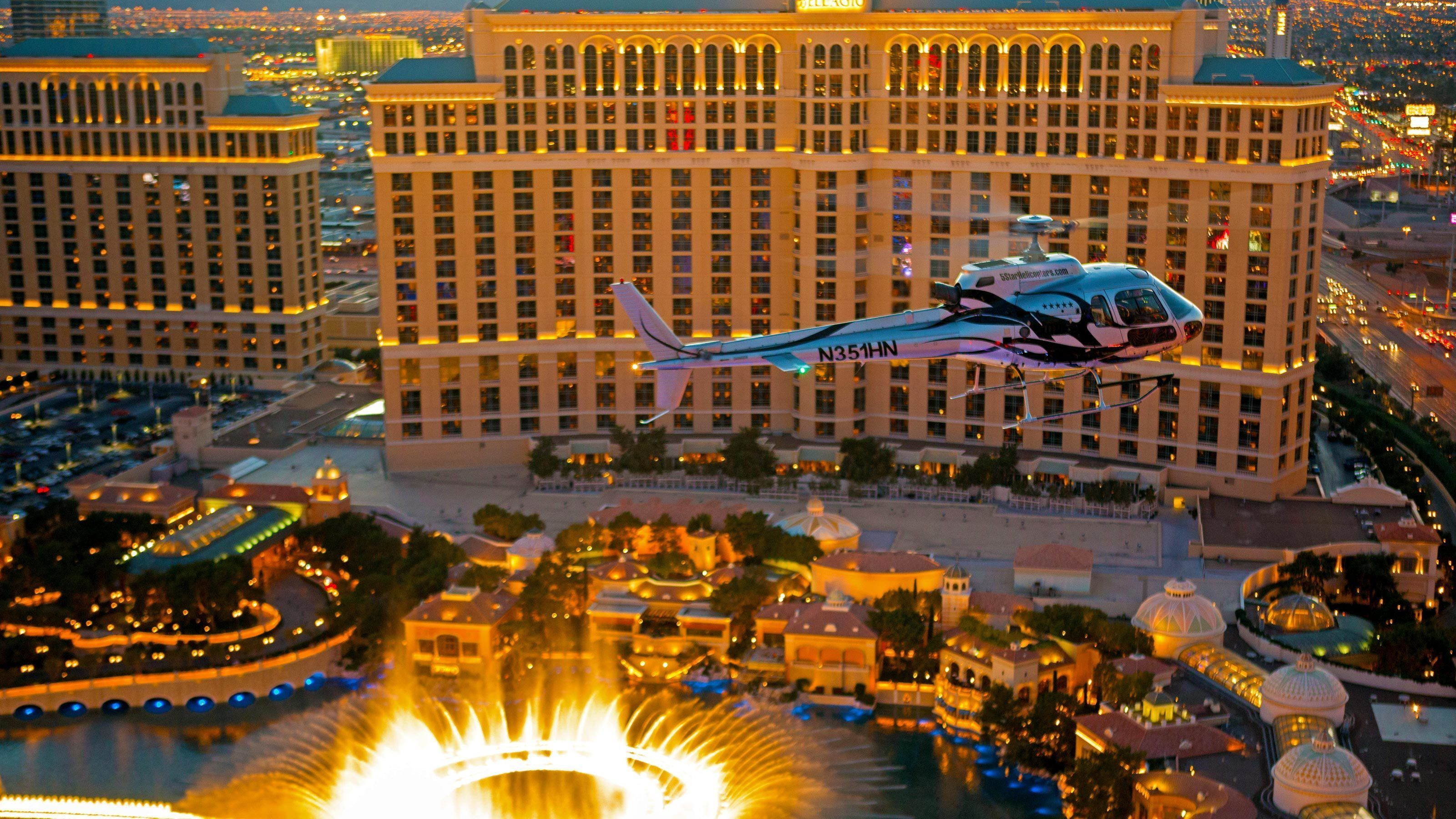 Helicopter flying by the Bellagio Hotel in Las Vegas