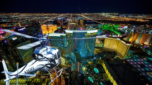 Helicopter over the city at night in Las Vegas
